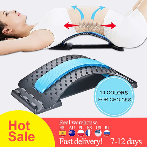 1pc Back Stretch Equipment Massager Magic Stretcher Fitness Lumbar Support Relaxation Spine Pain Relief  Massageador