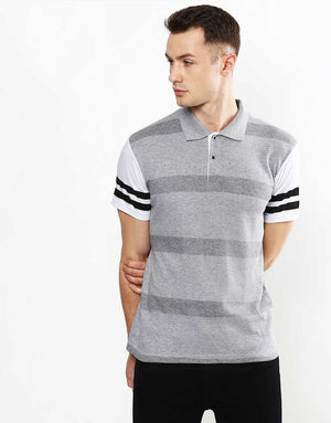 Short Sleeve Herringbone Stripe Polo