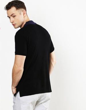 Polo T Pique Chest Panel and Contrast Collar in Black