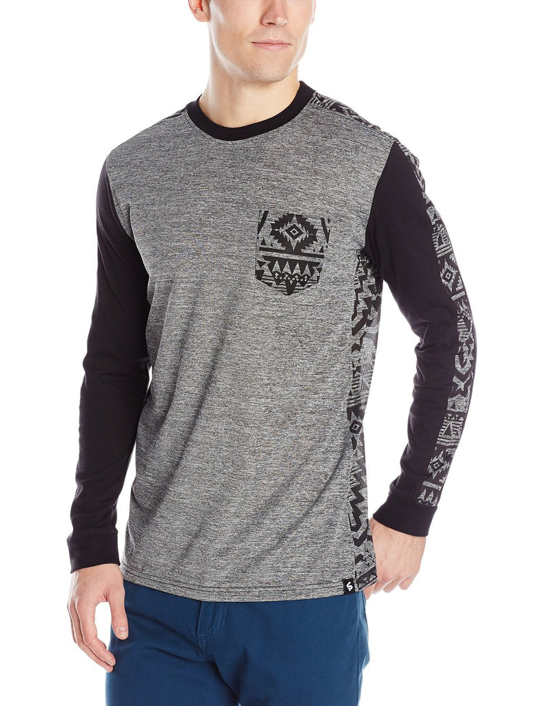Long Sleeve Marled Tee with Cut and Sewn All Over Prints