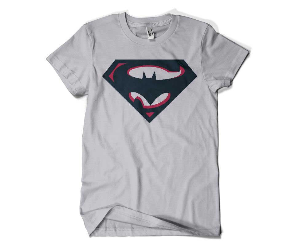 SuperBatman Round Neck T Shirt Gray.