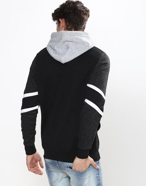 Black & Gray Pull Over Hoodie With All Over Geometric Prints