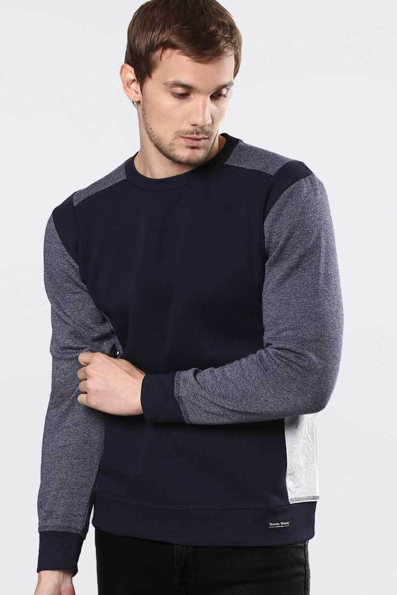 Contrast Fleece Sweatshirt Navy