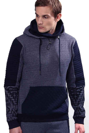 Hooded Pull Over Fleece with Biker Details With Removable Neck Warmer