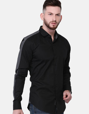 Gray Shirt With Contrast Panel