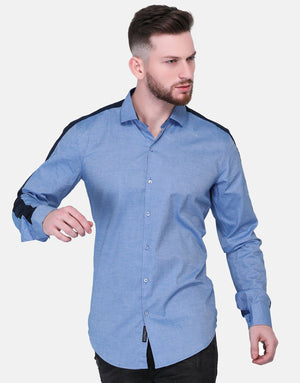 Blue Oxford Shirt With Navy Panel