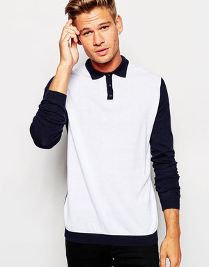 White Contrast With Blue Fullsleeve Polo