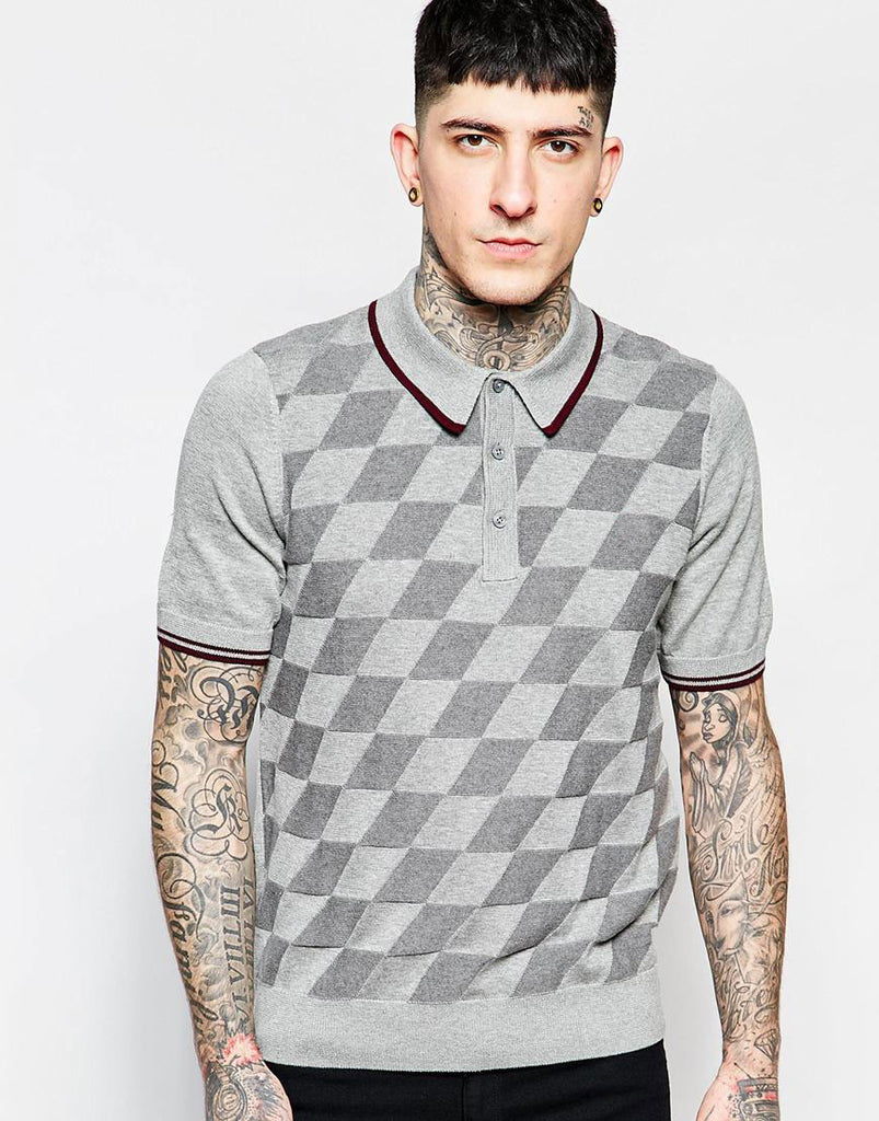 Polo Shirt with Argyle Pattern