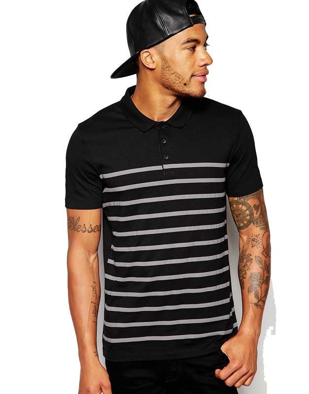 Black & Gray Stripped Polo