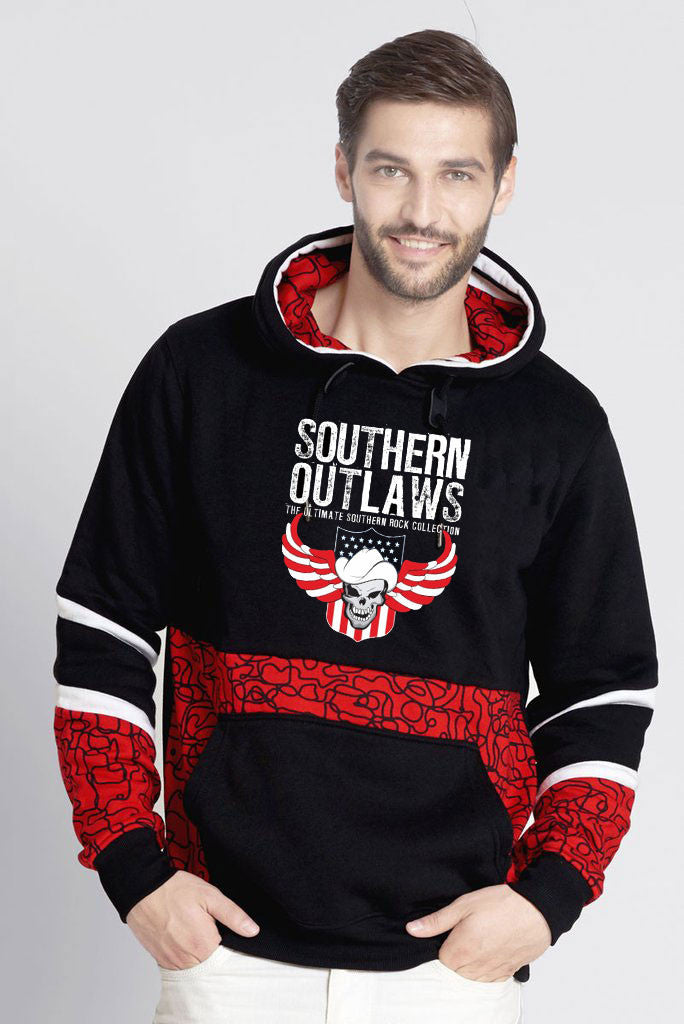 Outlaws Pull Over Hoodie With All Over Geometric Prints