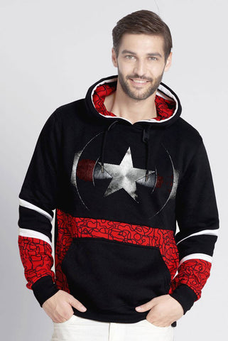 Captain Pull Over Hoodie With All Over Geometric Prints