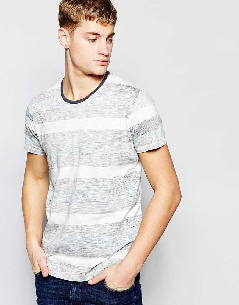 Gray Solid Crew Neck T-Shirt with Stripes