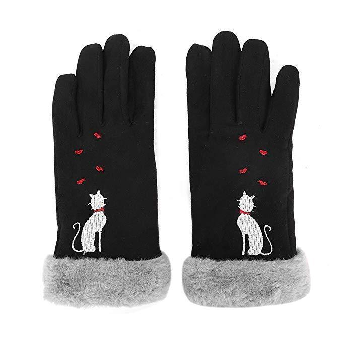 Cosy Embroidered Cat Gloves-Pawsome Couture