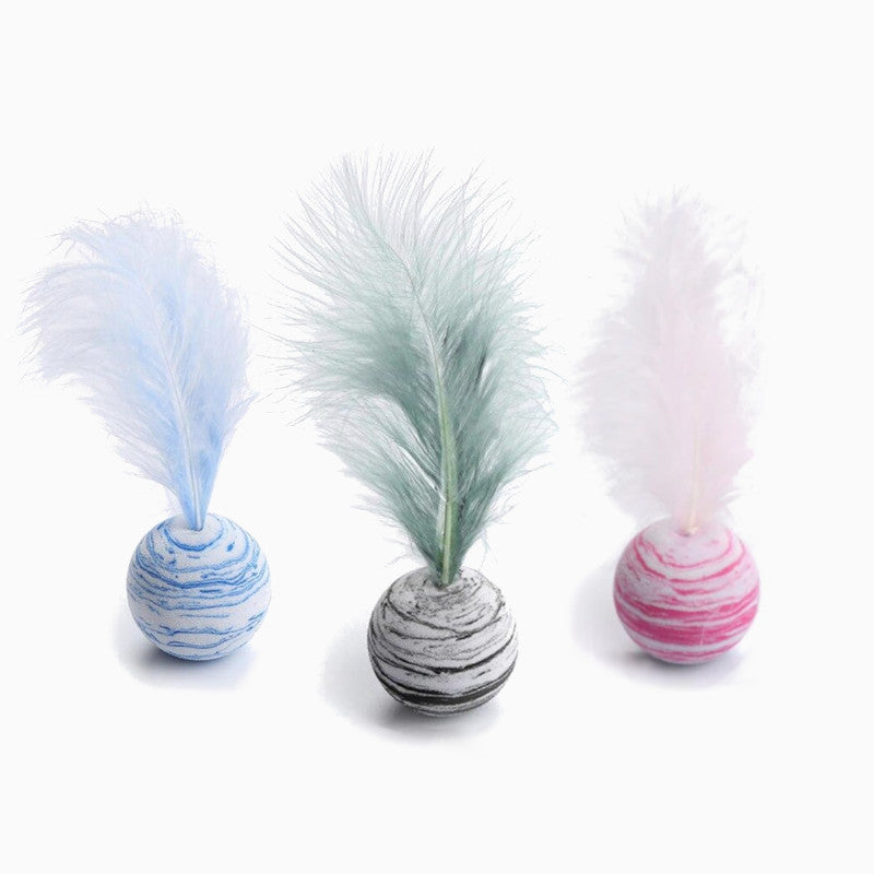 Fancy Feather Ball Cat Toys - Pawsome Couture