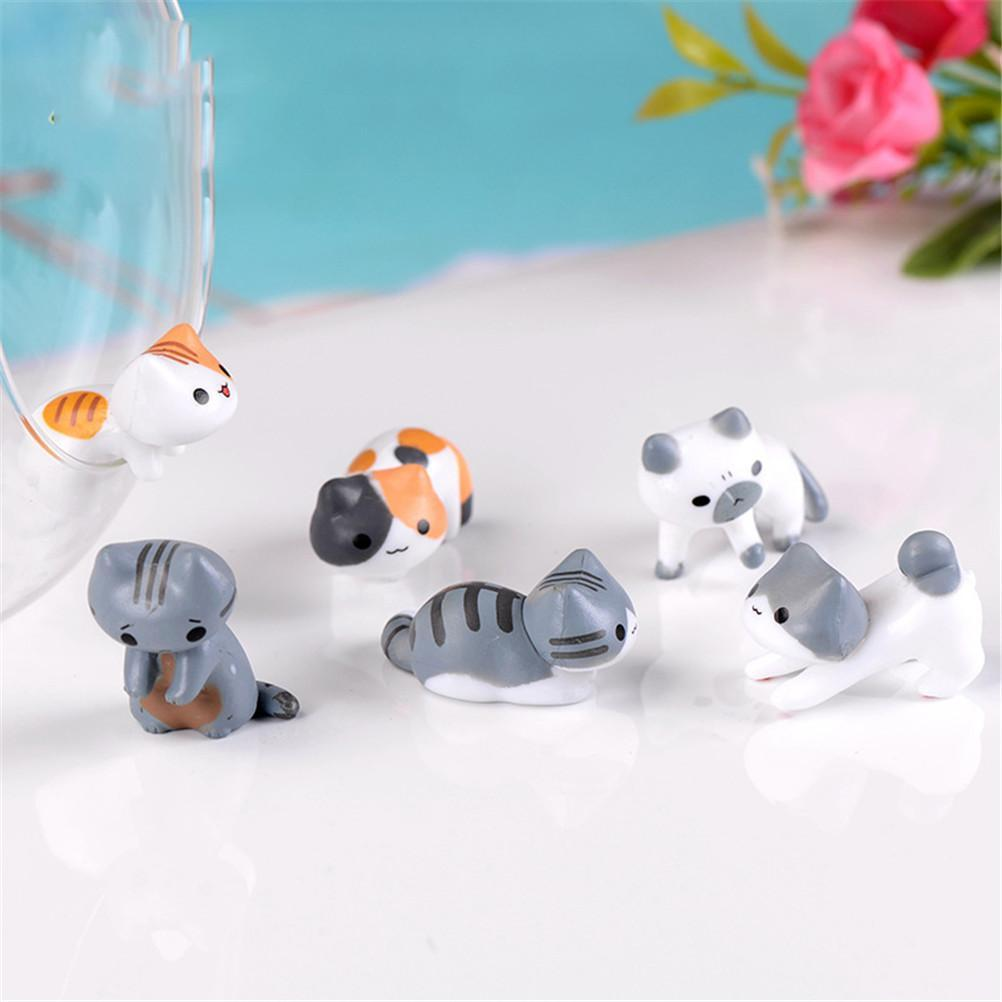 Lovely Mini Cat Decorations 6 Pieces
