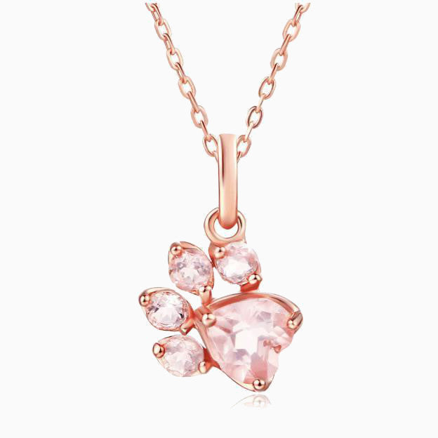 Pink Paw Quartz Necklace - Pawsome Couture