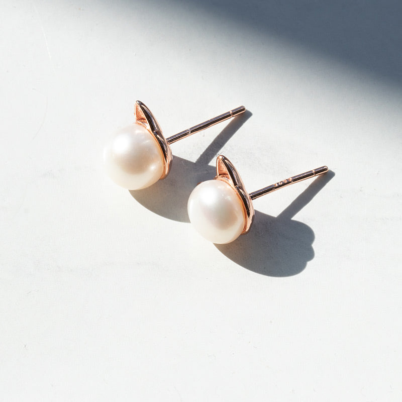 Rose Gold Pearl Cat Earrings - Pawsome Couture