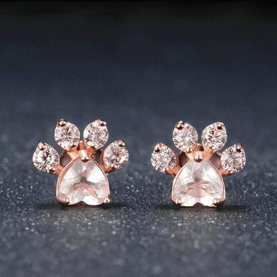 Pink Paw Quartz Earrings-Pawsome Couture