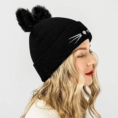 Pom Pom Cat Ear Beanie