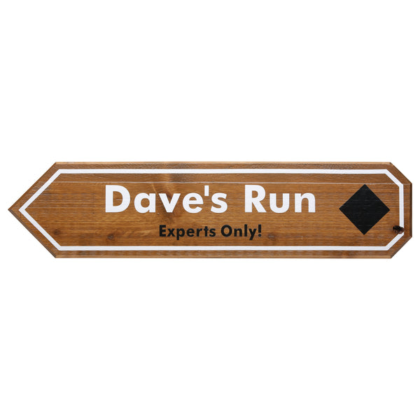 Mammoth Mountain Wooden Dave's Run Sign