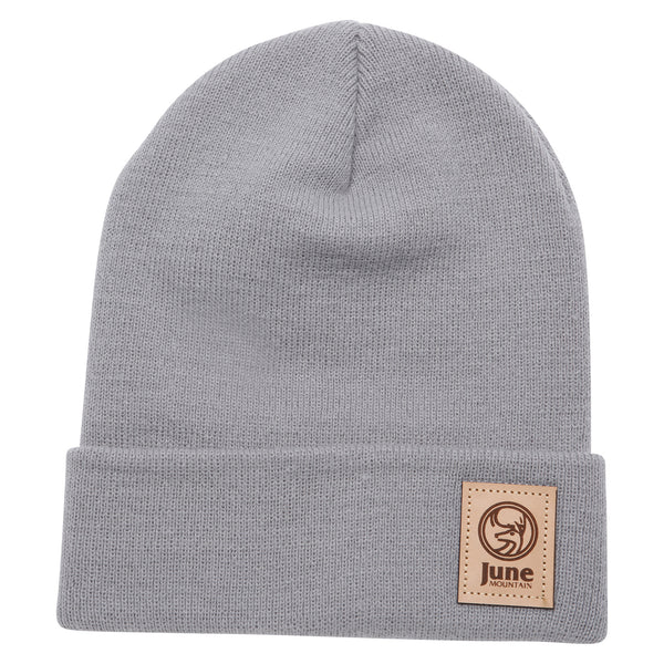 June Mountain Leather Patch Beanie