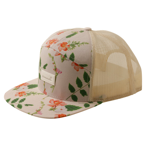 Crown Floral 7 Panel Trucker Hat