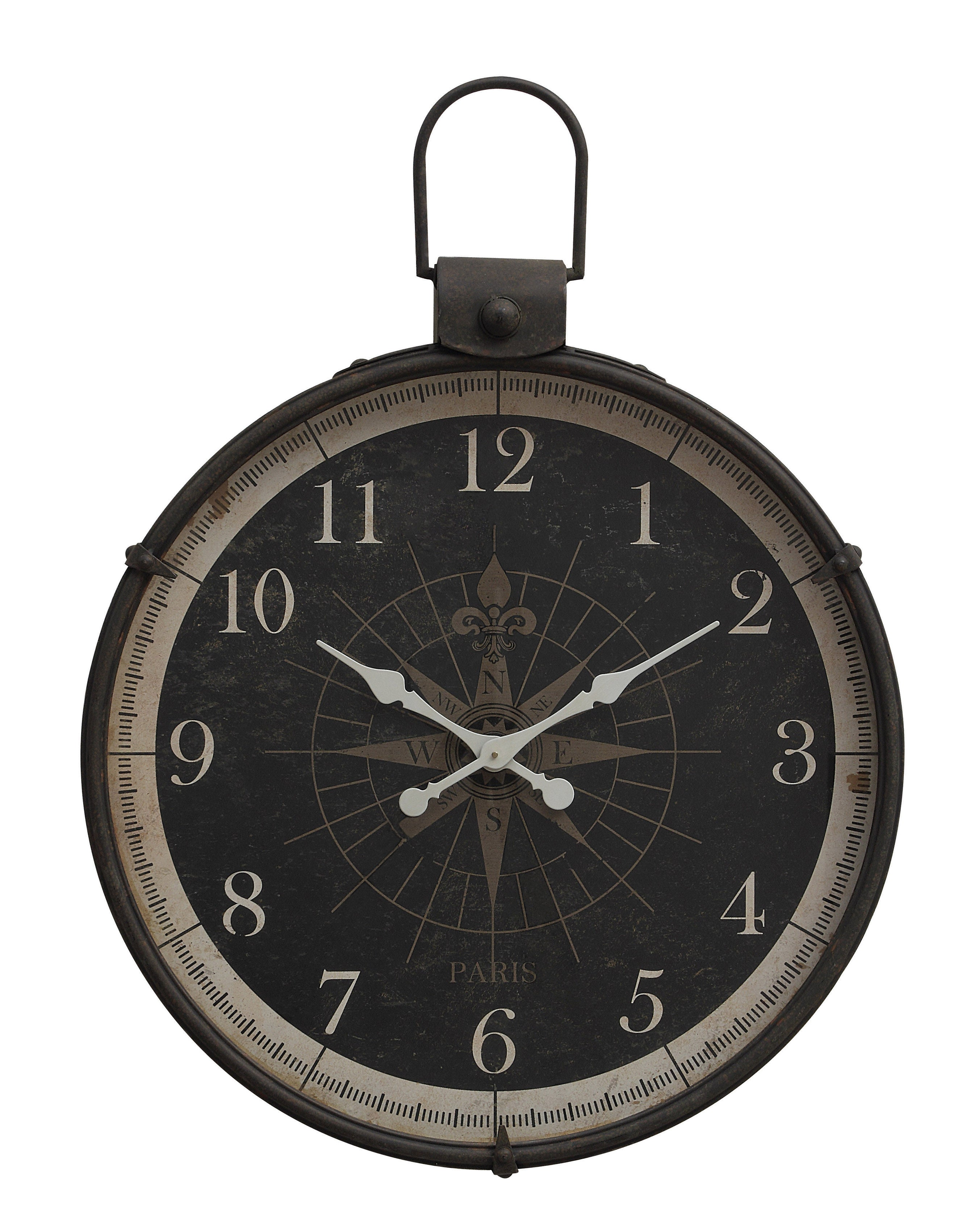 Black Metal Wall Clock with Compass Image