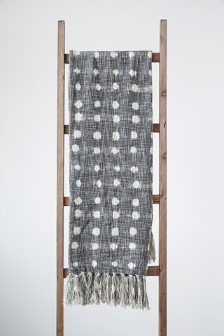 Charcoal Throw with White Polka Dots & Tassels