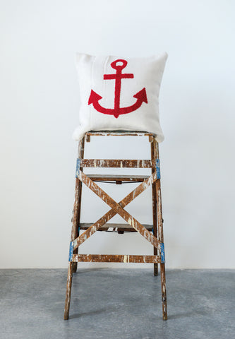 Square Cotton Cream Pillow with Embroidered Red Anchor
