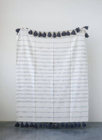 Cream Cotton Woven Throw with Grey Stripes and Tassels
