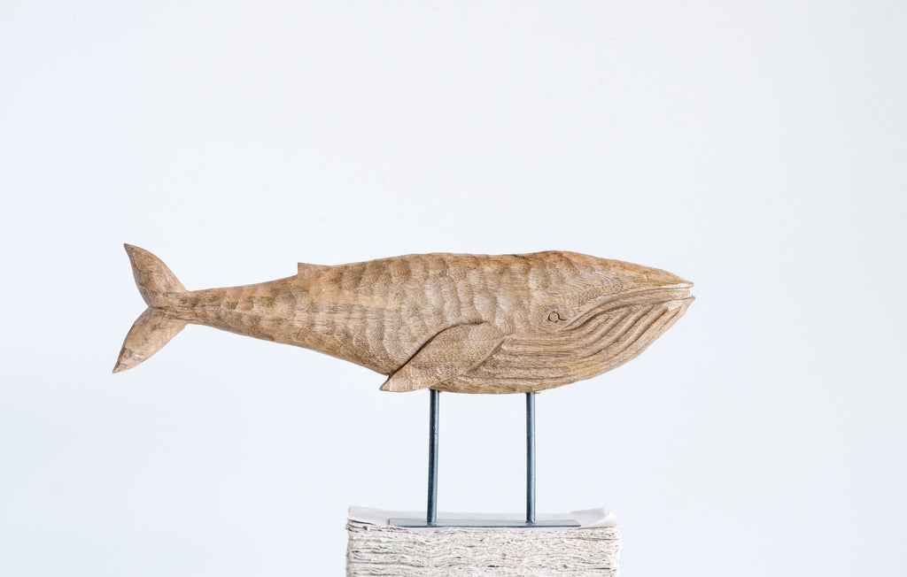 Hand-Carved Mango Wood Whale on Metal Stand