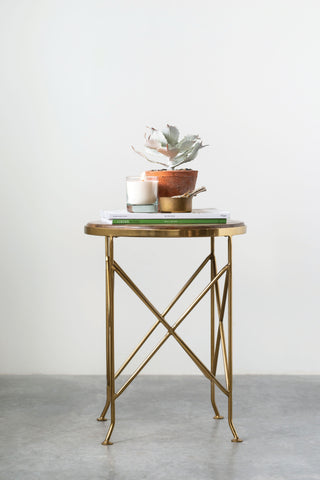 Brown Mango Wood Side Table with Gold Metal Legs