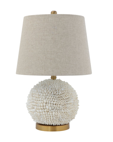 White Seashell Table Lamp with Natural Linen Shade