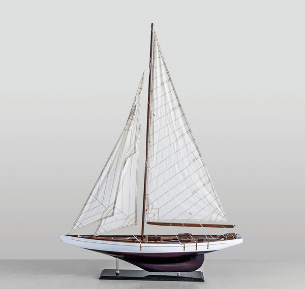 Decorative Wood & Fabric Boat on Stand