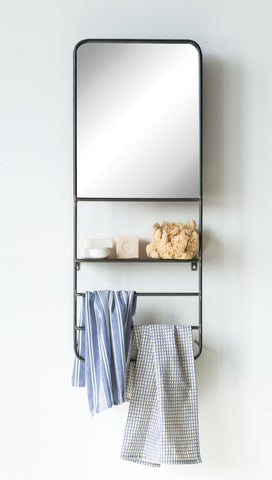 Metal Wall Mirror with Rods & Shelf