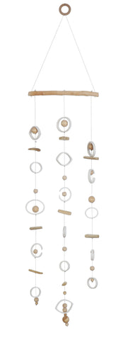 Stoneware & Wood Wall Hanging with Circles & Beads