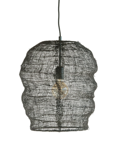 Black Jute Woven Pendant Light