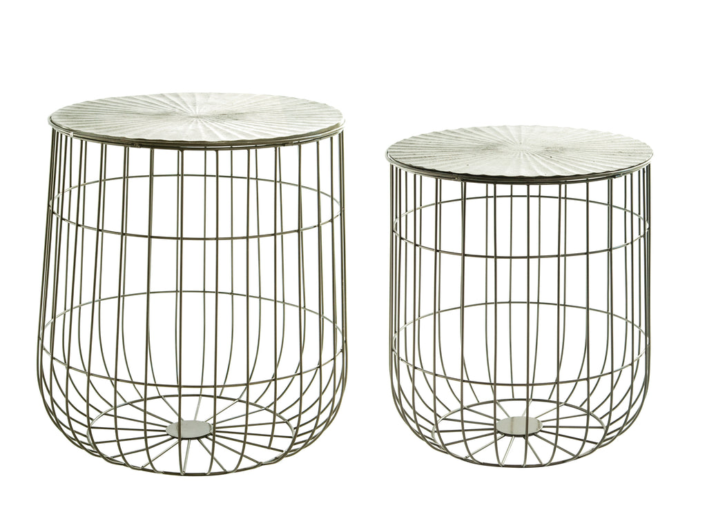 Metal Storage Basket Tables with Removable Pleated Tops (Set of 2 Sizes)