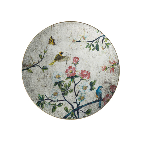 Antiqued Mirrored Floral & Bird Wall Art