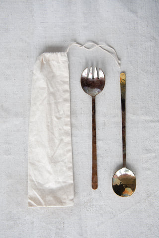 Copper Salad Servers with Burnt Finish & Textured Flat Handles (Set of 2 Pieces in Drawstring Bag)