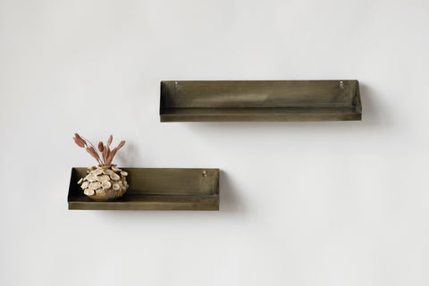 Metal Rectangle Wall Shelves (Set of 2)