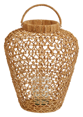 Handwoven Water Hyacinth & Rattan Lantern with Handle & Glass Insert