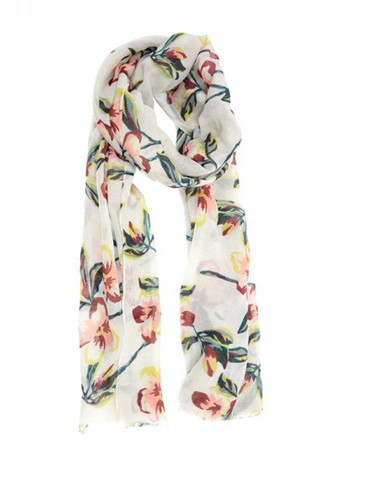 Pink Petals on White Scarf