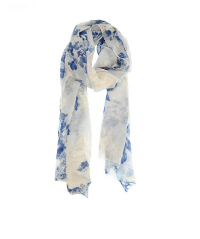 Dry Brush Floral Scarf - Blue