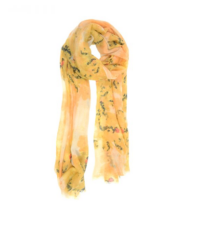 Dry Brush Floral Scarf - Golden