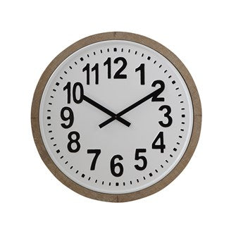 Round Wood Framed Metal Wall Clock