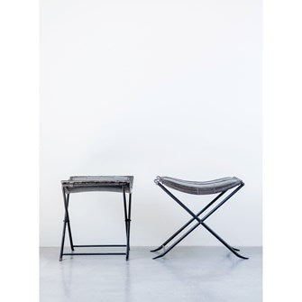 Leather & Metal Stool