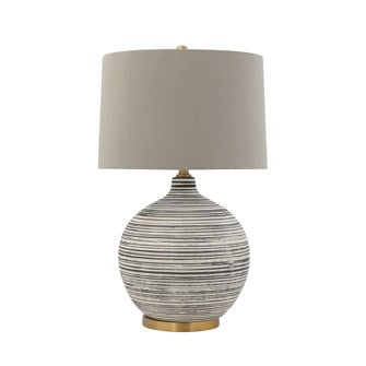 Ceramic Textured Table Lamp with Natural Linen Shade