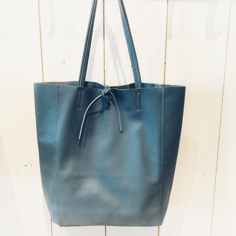Blue Leather Tote