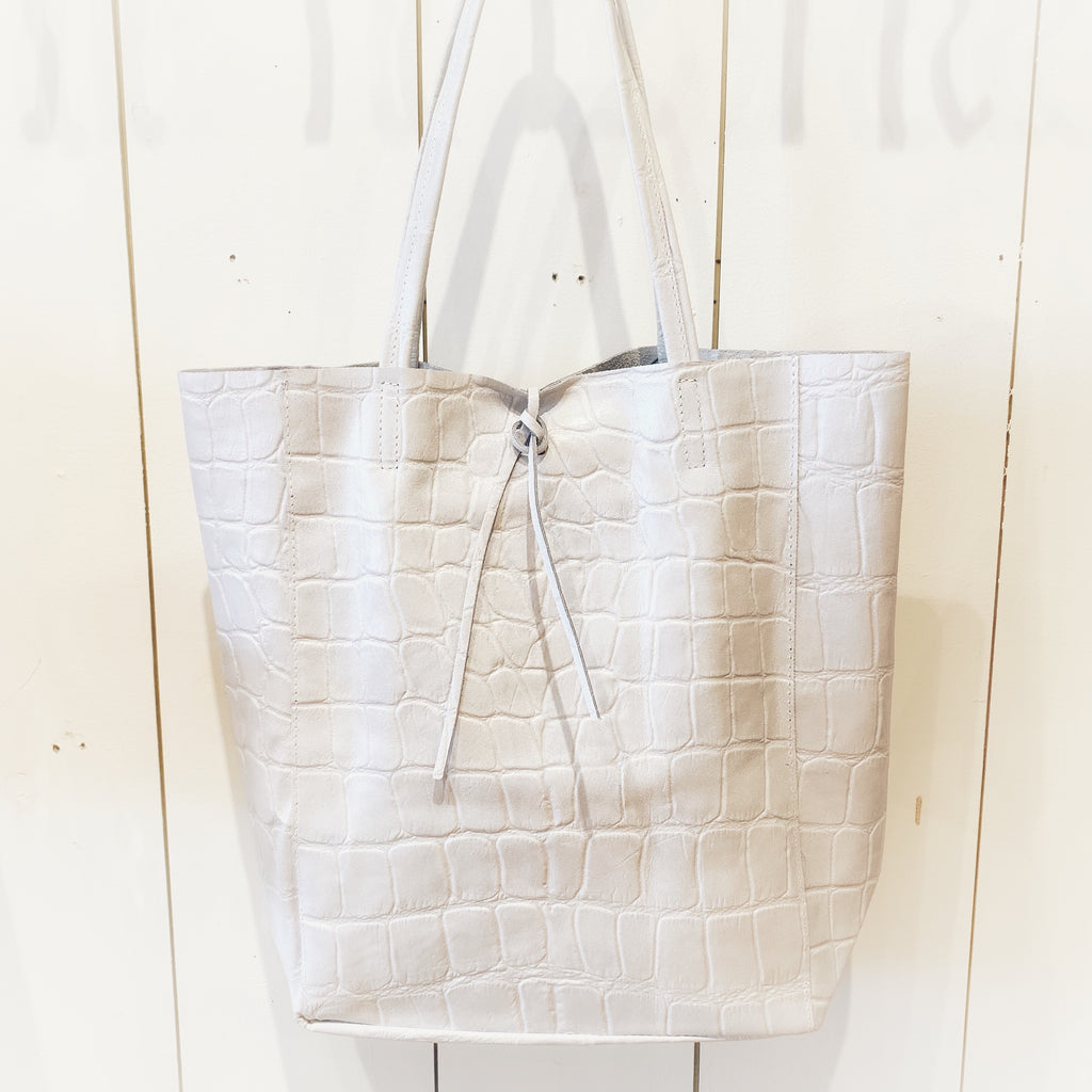 White Croc Embossed Tote